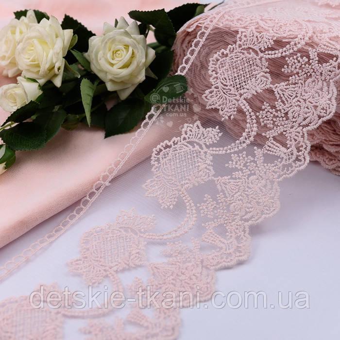 Кружево с нежным точечным узором розового цвета, ширина 13 см