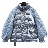 Шикарная женская перламутровая демисезонная куртка с вязанными рукавами
