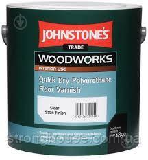 Johnstone's Quick Dry Polyurethane Floor varnish Satin 5л Быстросохнущий глянцевый лак для пола Джонстоун