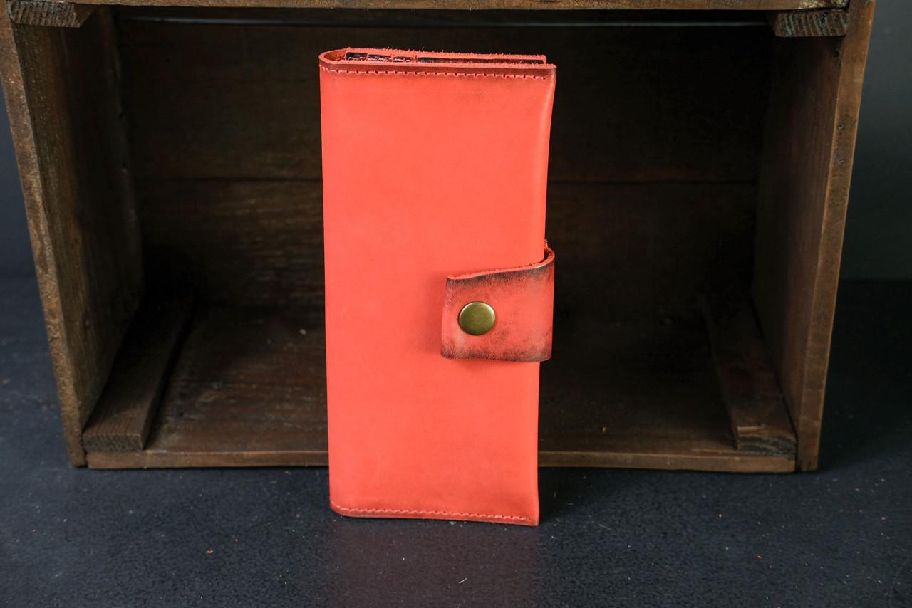 Кошелек клатч кожаный Berty 20см Кожа Итальянский краст цвет Красный