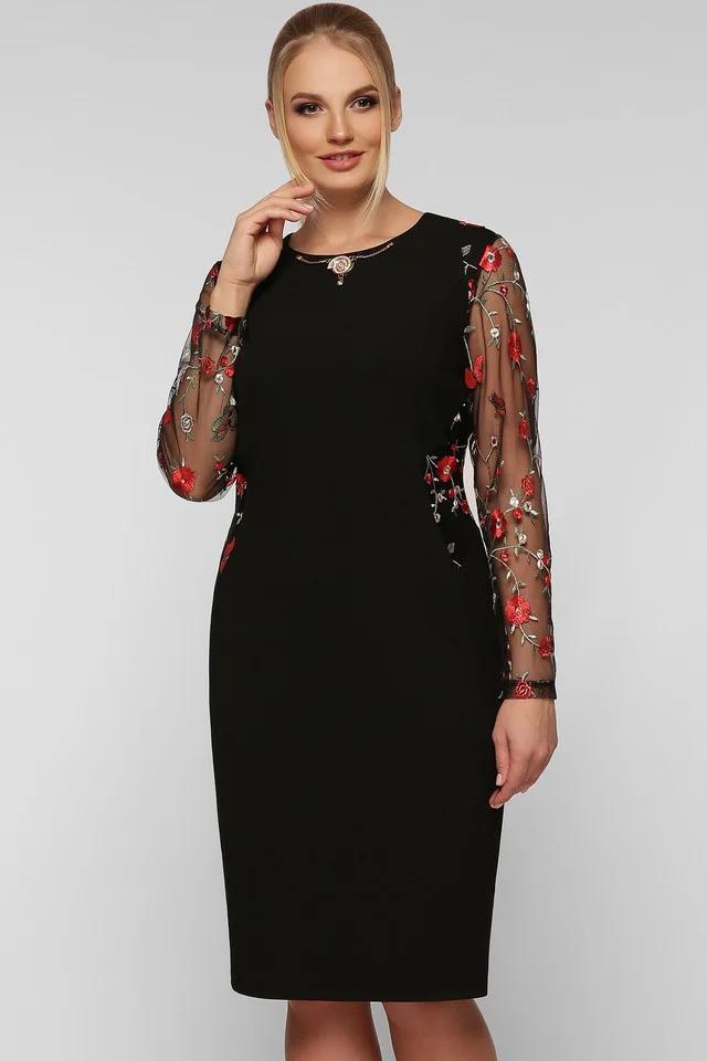Яркое женское платье Адель черный маки (48-58)