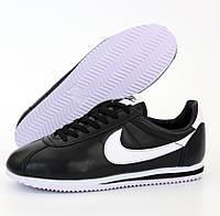 Мужские и женские кроссовки Nike Cortez черные с белым. Живое фото. Топ реплика ААА+