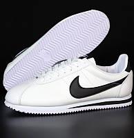 Мужские и женские кроссовки Nike Cortez белые с черным. Живое фото. Реплика