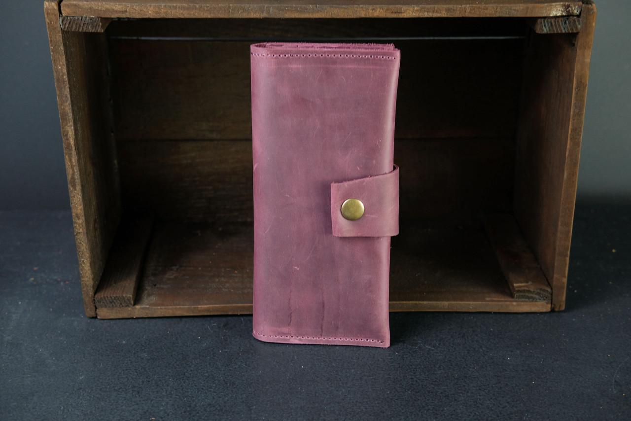 Кошелек клатч кожаный Berty 20см Винтажная кожа цвет Бордо