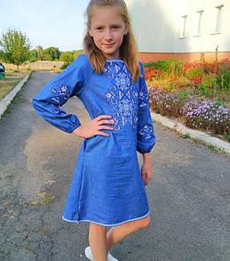 Джинсовое вышитое платье для девочки