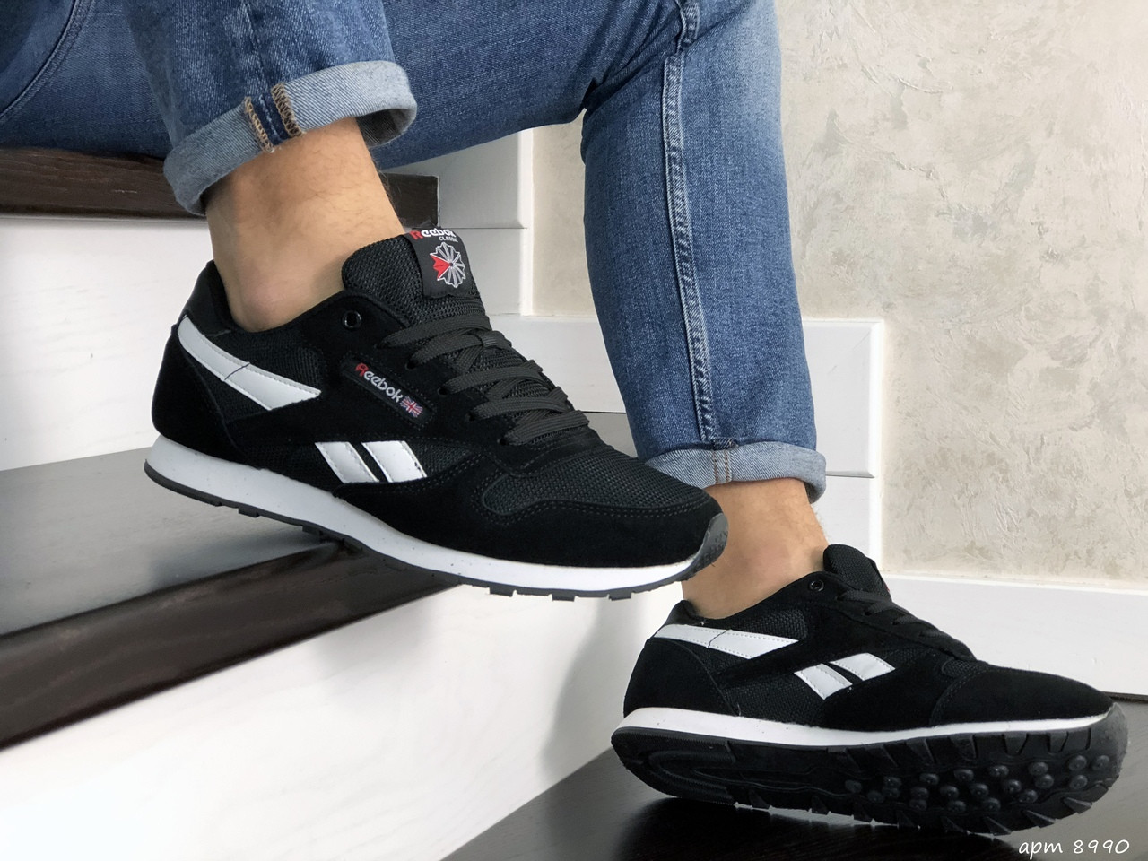 Чоловічі кросівки Reebok (чорно-білі) 8990