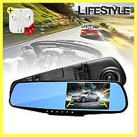 Зеркало видеорегистратор автомобильный DVR 138E + наушники в подарок!