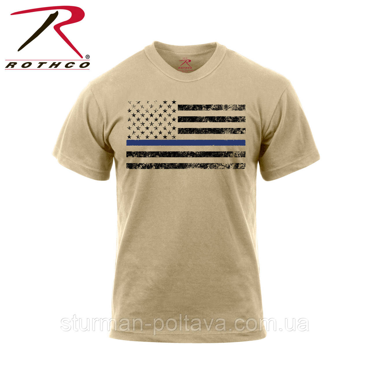 Футболка мужская  милитари  бежевая  с флагом США Rothco