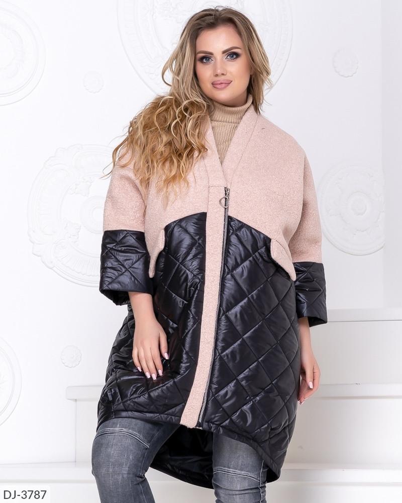 Женское стильное осеннее комбинированное стеганное пальто кокон, батал большие размеры