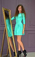 Нарядное однотонное женское платье с декорированой молнией, фото 1