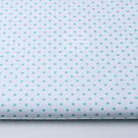 Лоскут ткани с мятным горошком 4 мм на белом фоне №1270. размер 22*80 см, фото 2