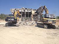 Демонтаж и выемка фундаментов и оснований сооружений екскаватором з гідромолотом