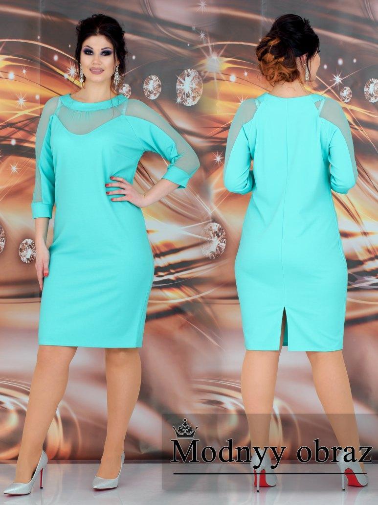 Женское силуэтное платье со вставками гипюра 48-50, 52-54