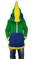 Толстовка для мальчика EVA  Леон 152 см  Зеленый + синий + желтый
