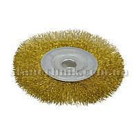 Щетка-крацовка дисковая латунированая рифленая 100х16 мм (18-052)
