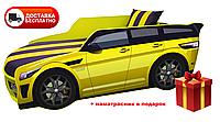 Кровать детская PREMIUM, Кровать машина с матрасом Премиум Land Rover желтый