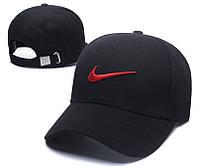 Крутая мужская коттоновая кепка-бейсболка черная с красным логом Nike (реплика)