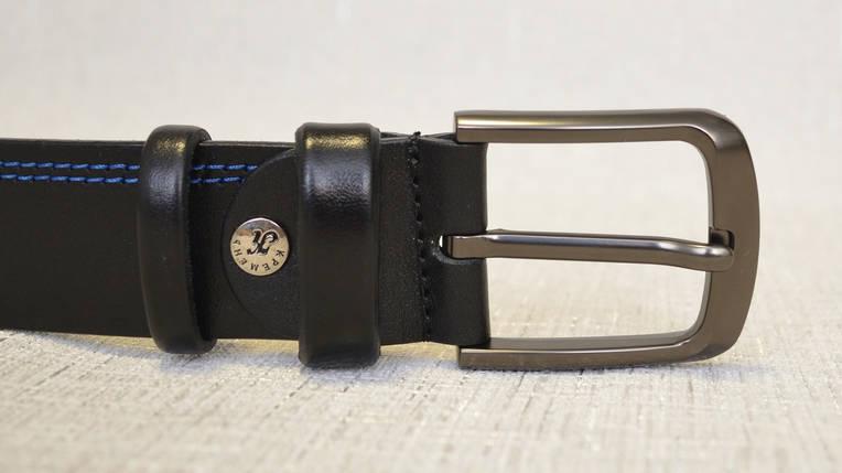 Ремень кожаный с синей строчкой 361, фото 2