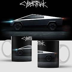 Чашка з принтом Tesla Cybertruck. Тесла. Чашка з фото