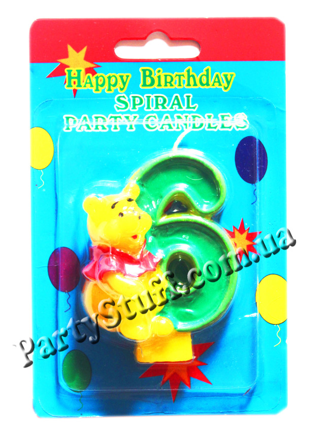 свеча цифра 6 для торта Винни Пух