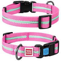 Светоотражающий розовый ошейник для собак Nylon WAUDOG