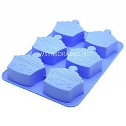 Силиконовая форма для выпечки кексов Пирожное / Силіконова форма для випічки кексів Тістечко (голубой)