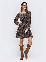Шифоновое платье коричневое короткое открытые плечи 44 46 48