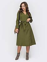 Платье хаки на запах ниже колена 42-44 46-48 50-52+