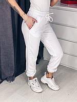 Женские трикотажные спортивные штаны брюки с карманами белые 42 44 46 48 50, фото 1
