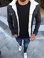 Мужской черный джинсовый пиджак на меху