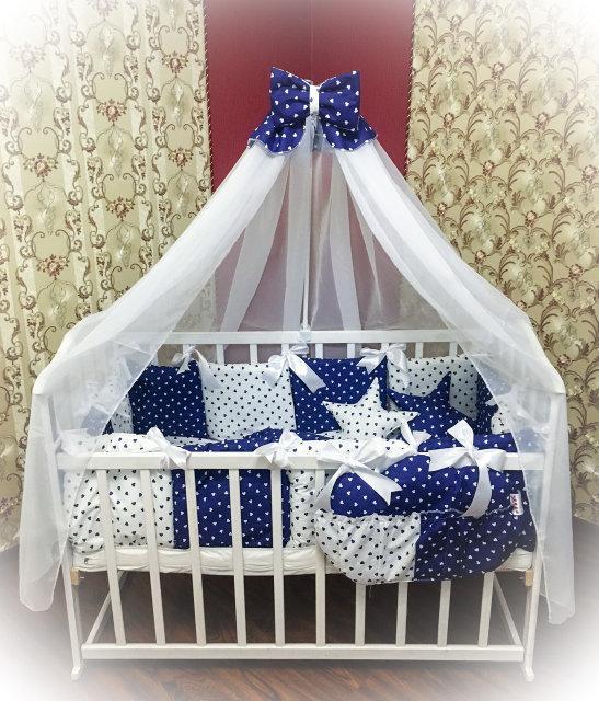 Детское постельное белье в кроватку ТМ Bonna Elite Синее в сердечки
