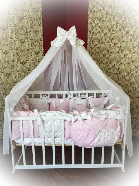 Детское постельное белье в кроватку ТМ Bonna Elite Розовое в звездочку