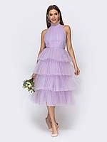 Вечернее платье фиолетовое с открытой спиной и  пышной юбкой миди   44 46 48 +