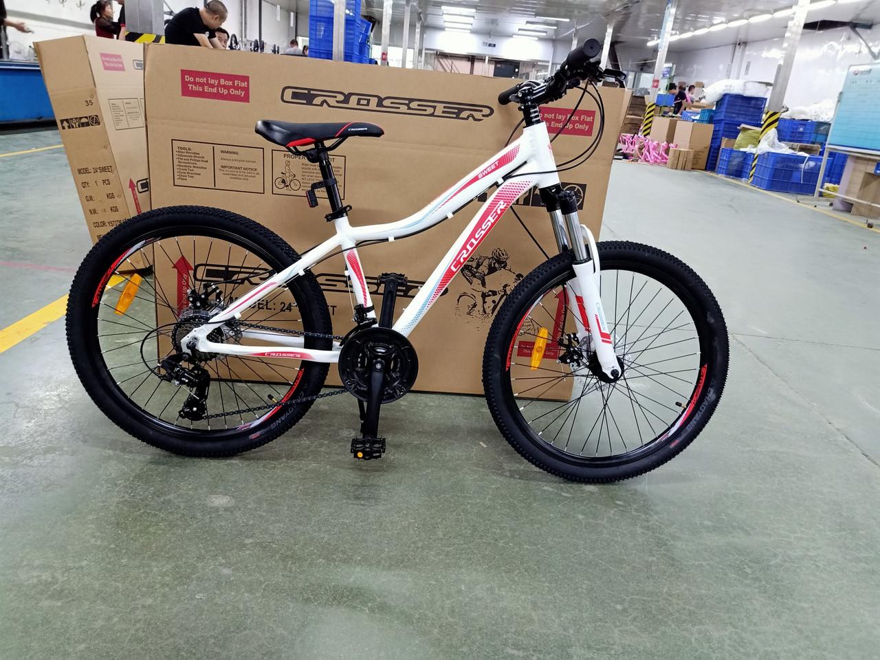 Велосипед CROSSER 24  Sweet 14  2020 года Белый \ Красный цвет