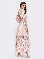Вечернее платье нежно-розовое  в пол с открытой спиной   44 46 48 +