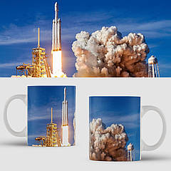 Чашка з принтом SpaceX Falcon Heavy. Чашка з фото