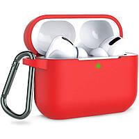 Силіконовий футляр з карабіном для навушників AirPods Pro Червоний