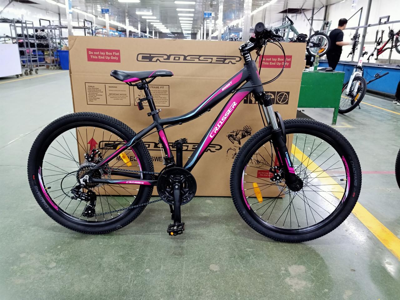 Велосипед CROSSER 24  Sweet 14  2020 года Черный \ Розовый цвет