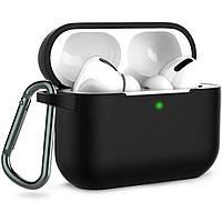Силіконовий футляр з карабіном для навушників AirPods Pro Чорний