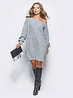 Вязаное Платье-туника спадающее с плеча 44-48