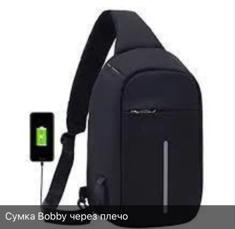 Городская сумка-бананка антивор через плечо BOBBY с защитой от карманников и USB