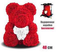 [ОПТ] Мишка из 3D роз с сердцем 25 см в коробке ВСЕ ЦВЕТА!