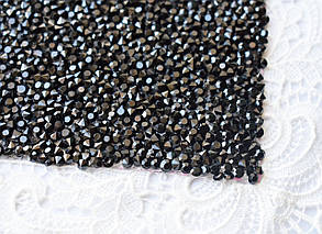 Стразовая ткань, черная, 4х5см, Корея