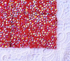 Стразовая ткань, красная АВ, 4х5см, Корея