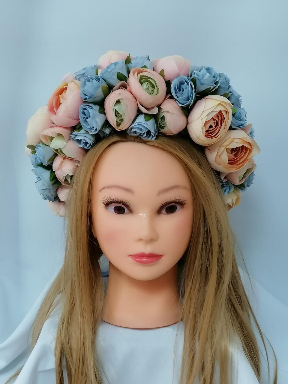 Вінок на голову Волинські візерунки з штучних квітів в пастельних тонах