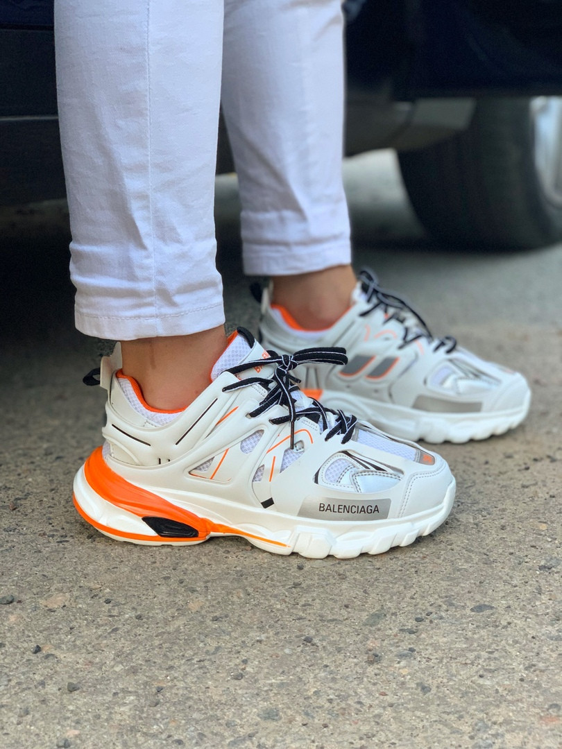 Женские кроссовки Balenciaga Track (Баленсиага) White Orange