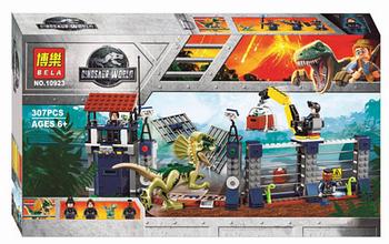 """Конструктор Bela 10923 """"Нападение Дилофозавра на сторожевой пост"""" (аналог Lego Jurassic World 75931), 307 деталей"""