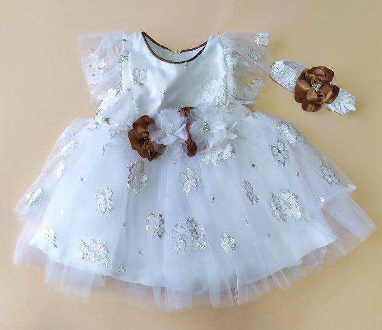 Нарядное платье для девочки с повязкой, белое