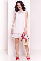 Летнее легкое белое платье трапеция с кружевом (S/M, M/L)