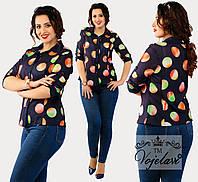 Летняя женская стильная батальная шифоновая рубашка с принтом р.48-54. Арт-3076/41